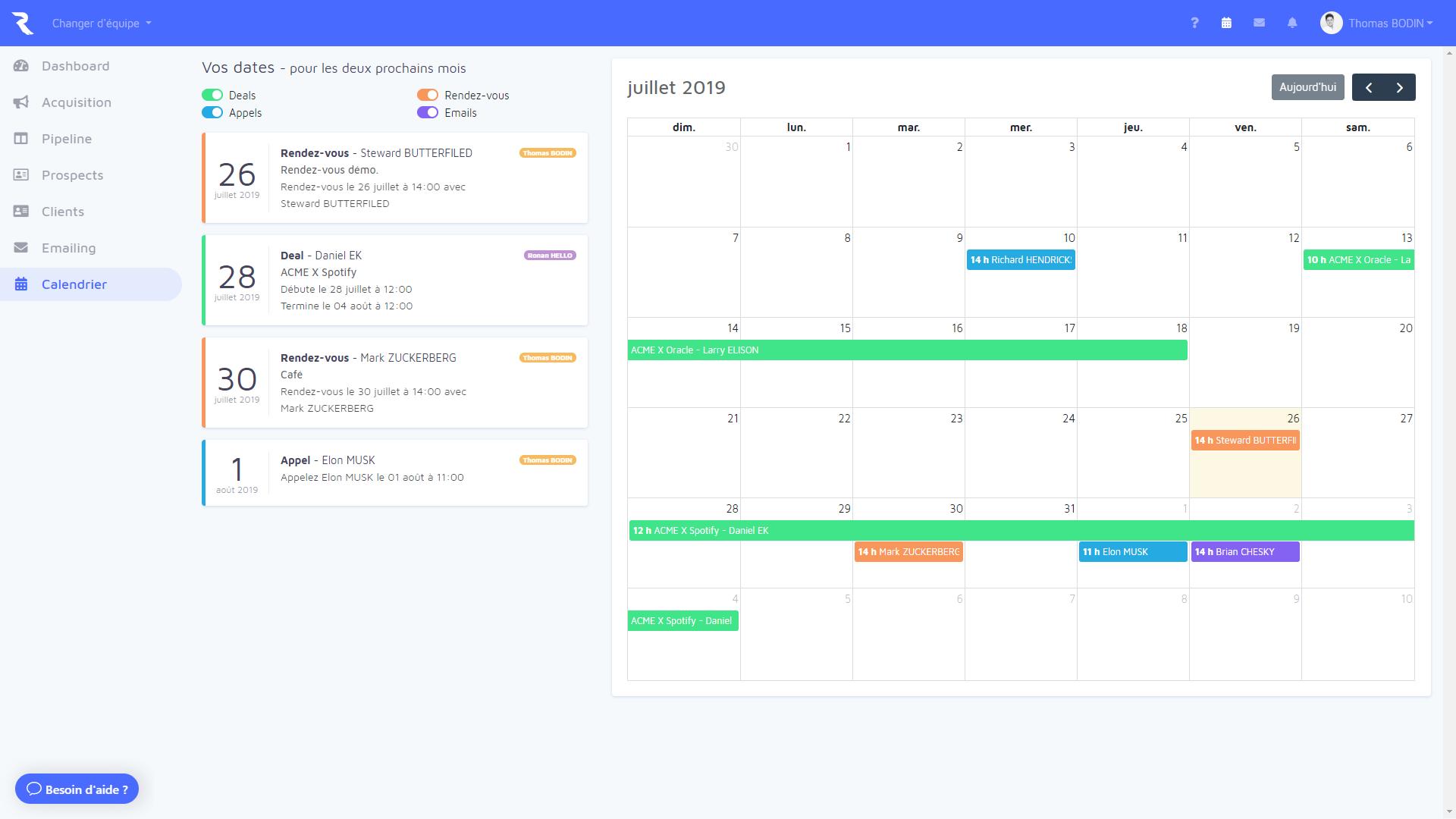 Outil CRM Launchr : Tâches et calendrier