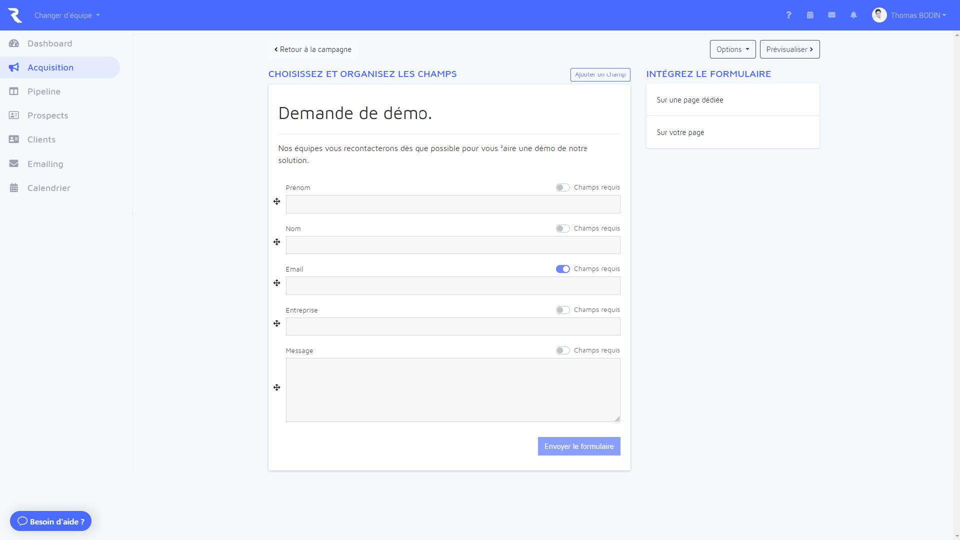 Outil CRM Launchr : Formulaires web